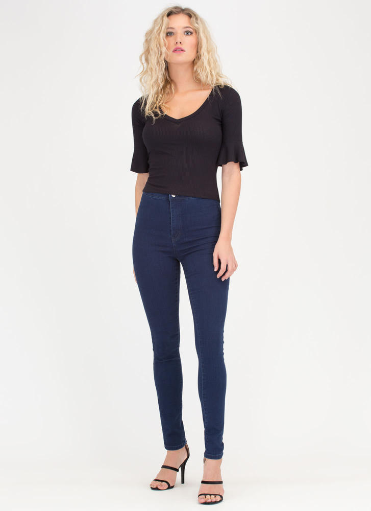 Saved By The Bell Sleeve Rib Knit Top BLACK