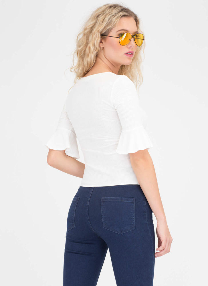Saved By The Bell Sleeve Rib Knit Top IVORY
