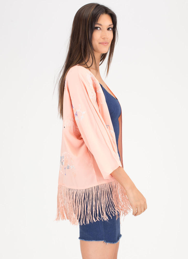 Fly Fly Away Embroidered Fringe Kimono PEACH