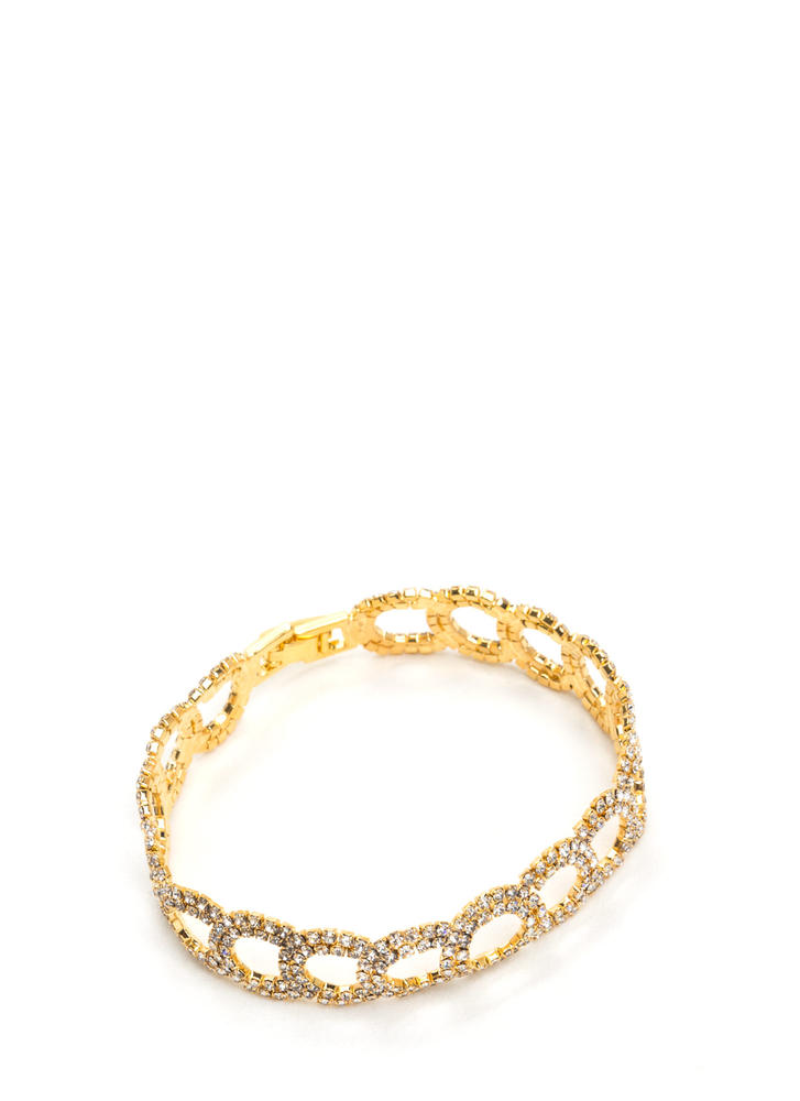 Ring To Life Rhinestone Bracelet GOLD
