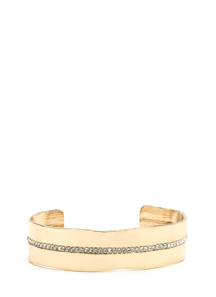 Perfectly Imperfect Rhinestone Cuff GOLD (Final Sale)