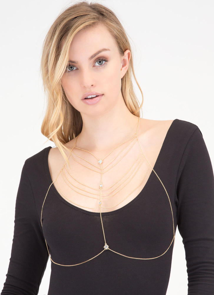 Treasure Map Jeweled Halter Bodychain GOLD