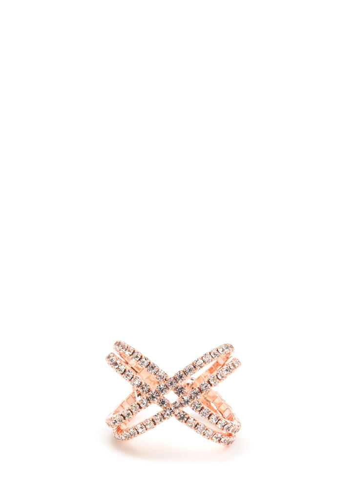 X-ed Off Rhinestone Ring