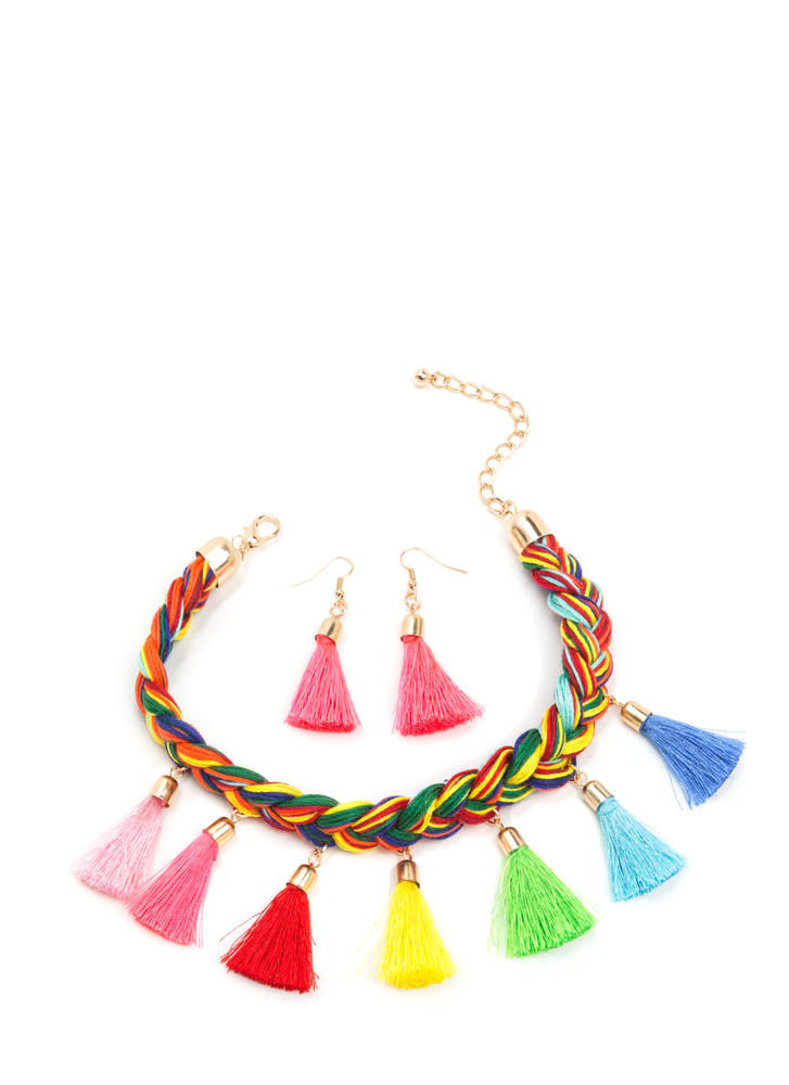 Rainbow Bright Tasseled Necklace Set MULTI