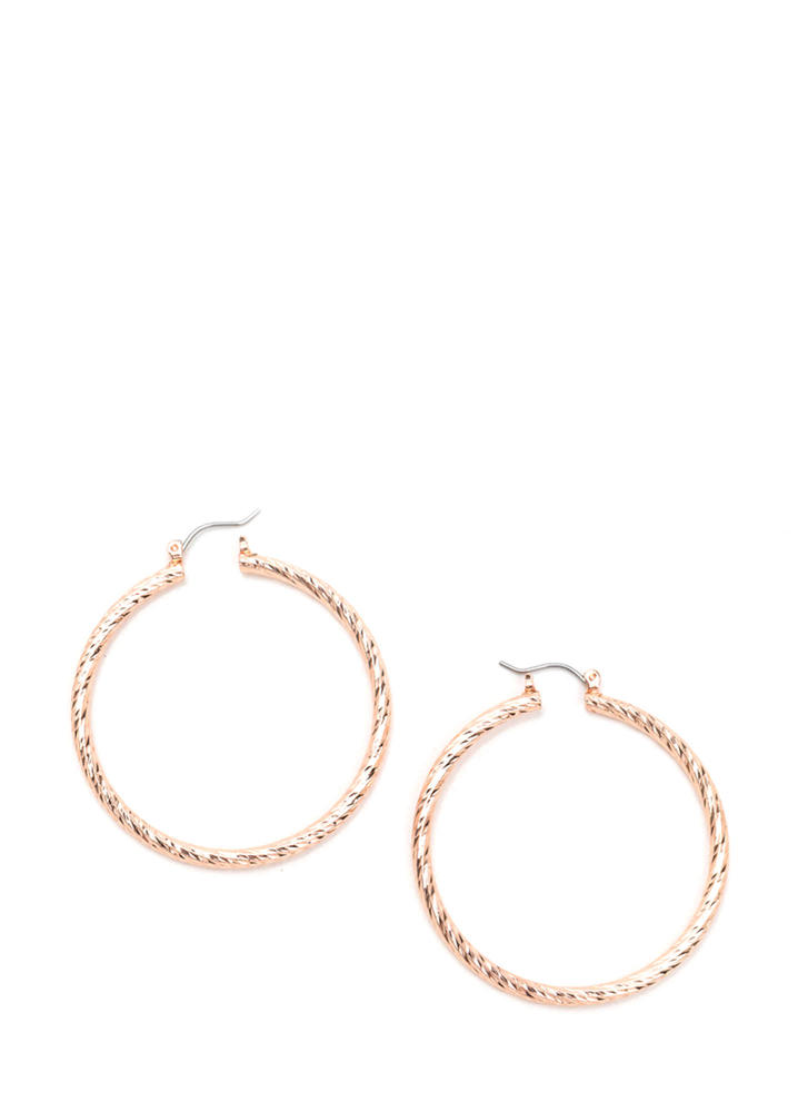 Gleam On Twisted Hoop Earrings ROSEGOLD