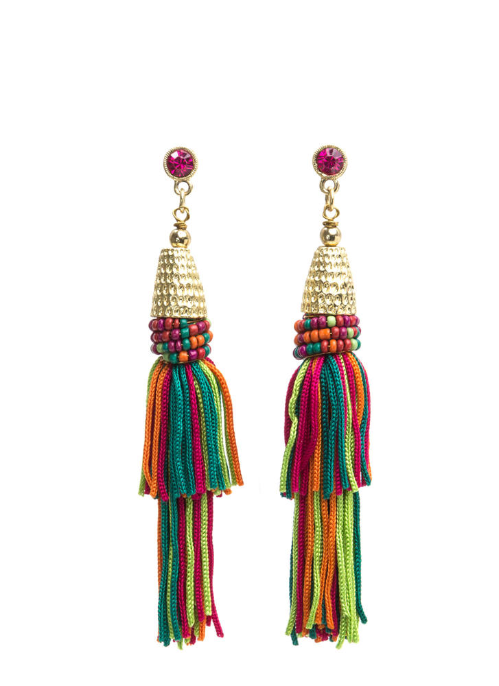 Fabulous Boho Beaded Tassel Earrings MULTI