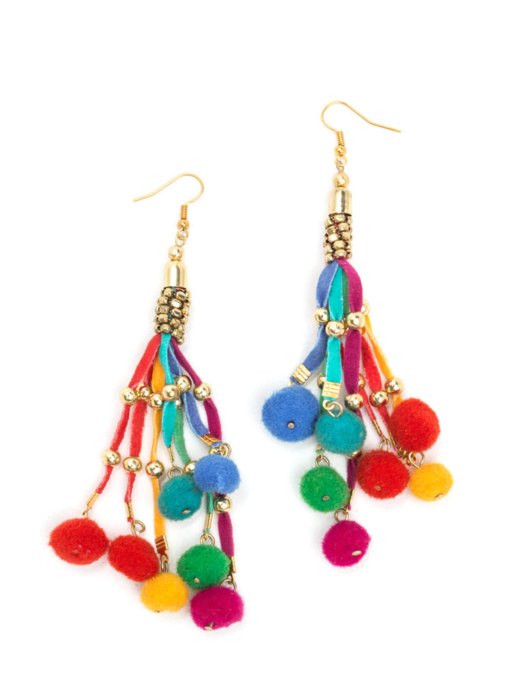 Dress Cord Embellished Pom-Pom Earrings