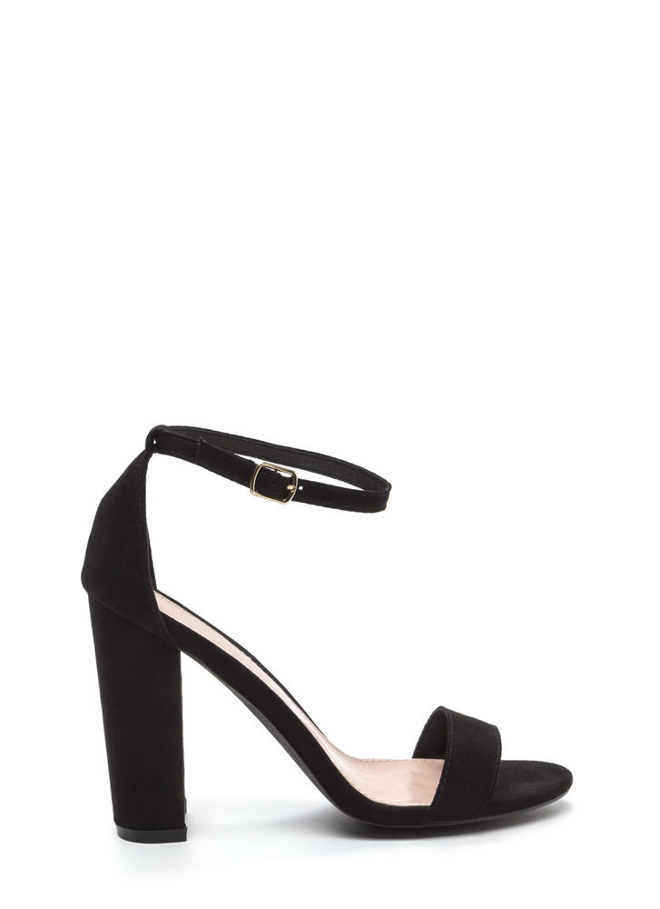 Simple Beauty Chunky Ankle Strap Heels BLACK