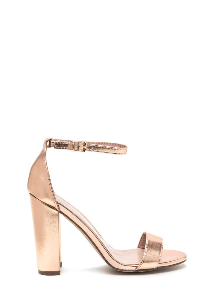 Simple Beauty Chunky Metallic Heels ROSEGOLD