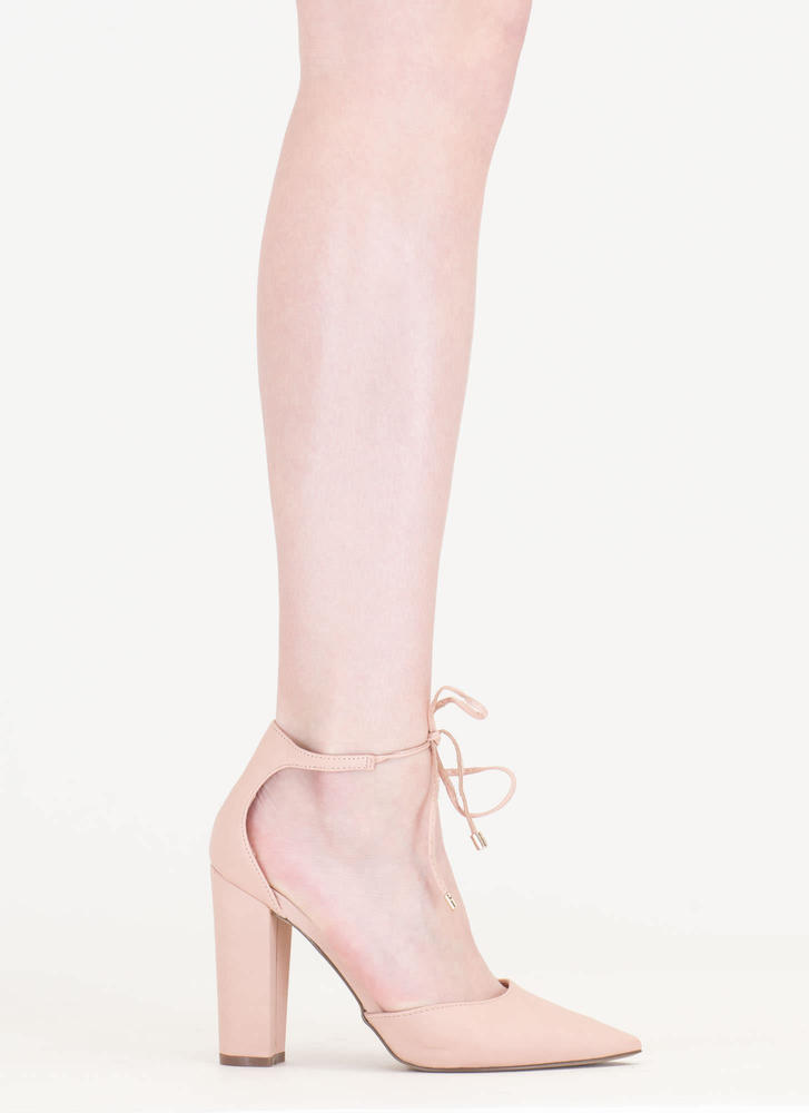 It's High Tied Chunky Pointy Heels BLUSH