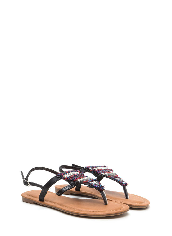Bedazzled 'N Chic Faux Leather Sandals BLACK
