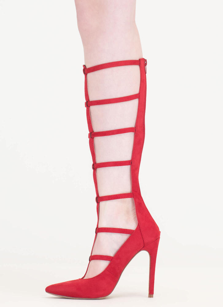 Treasured Gift Caged Gladiator Heels RED