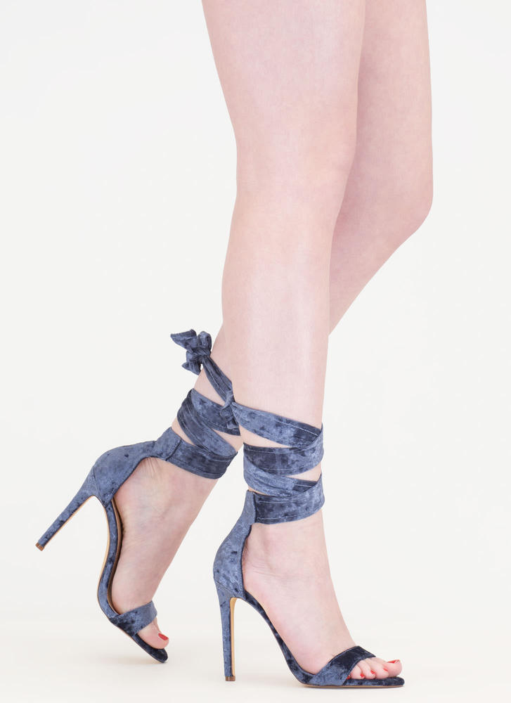 Crush It Lace-Up Velvet Heels