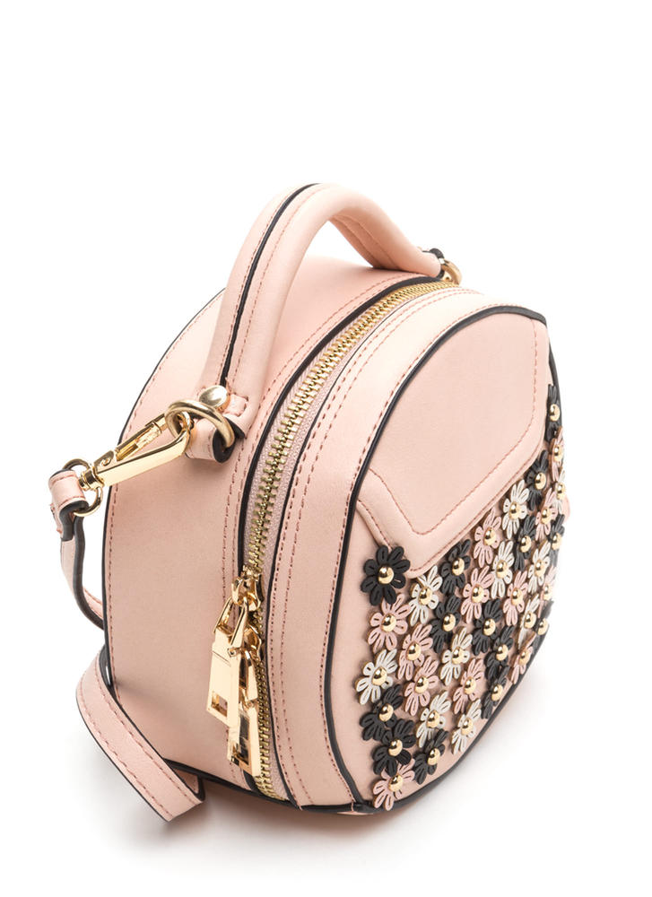 Flower Power Round Faux Leather Purse PINK