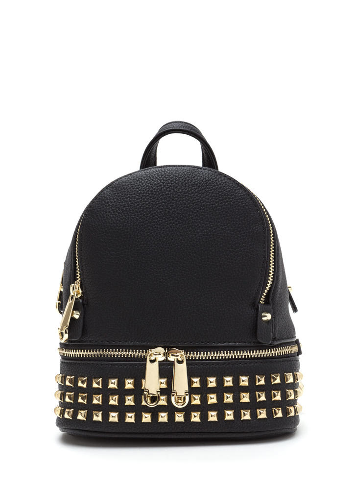 Stud-y Buddy Faux Leather Mini Backpack BLACK