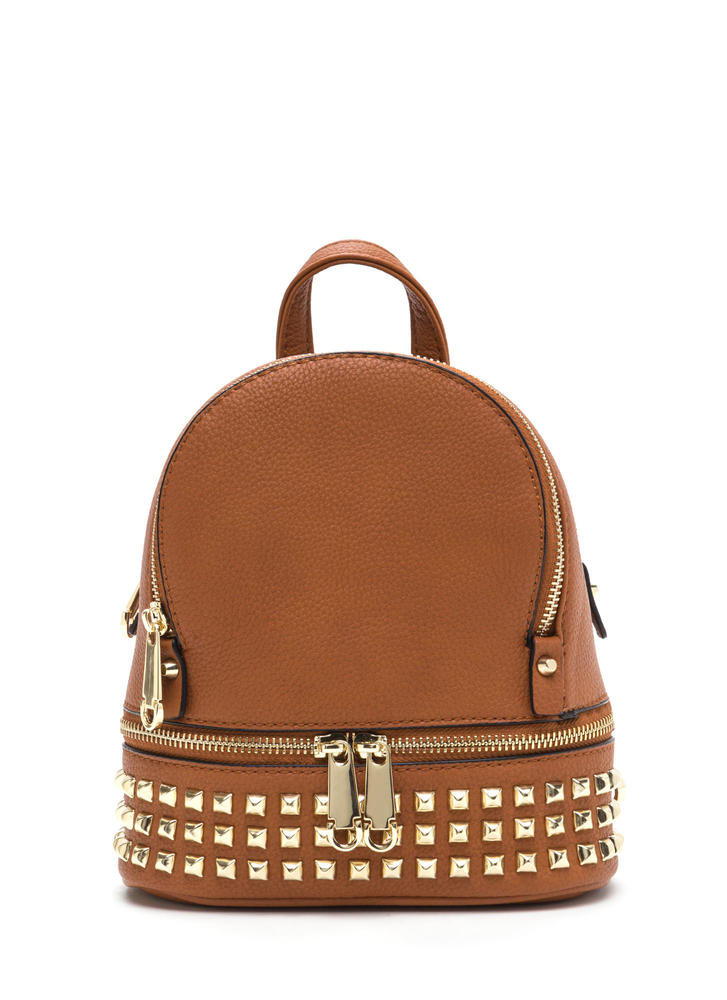 Stud-y Buddy Faux Leather Mini Backpack TAN
