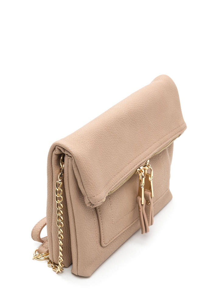 Forever Fave Faux Leather Crossbody Bag BEIGE