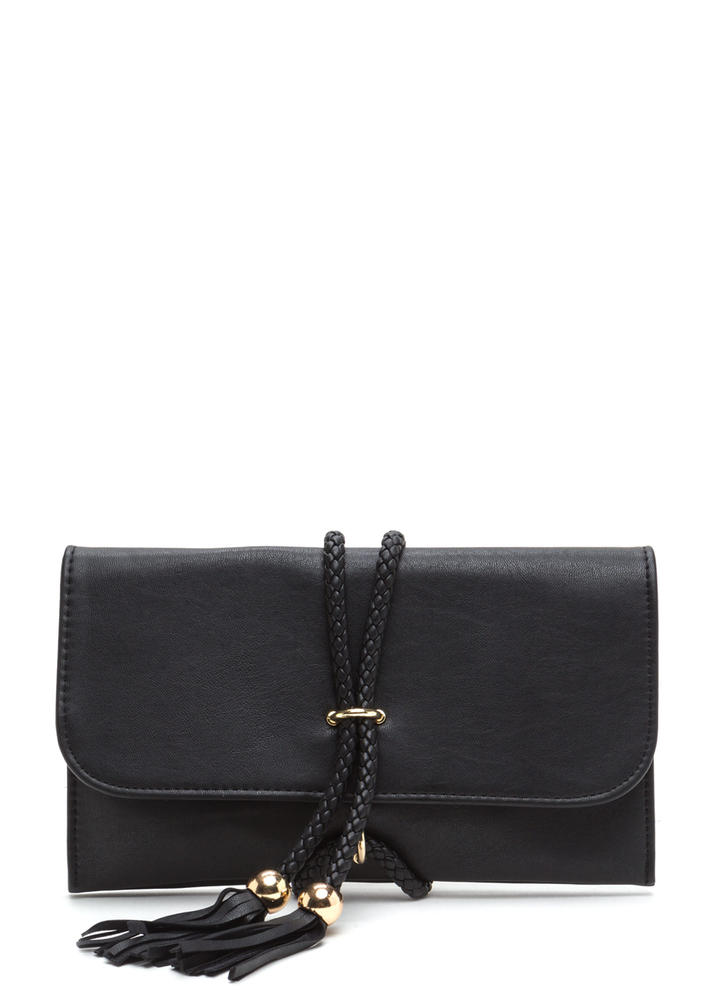 Tie Down Faux Leather Double Cord Bag BLACK