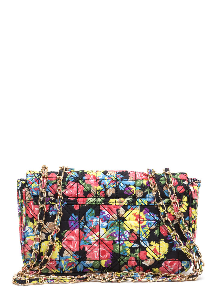 Flower Walk Quilted Chain Bag BLACK