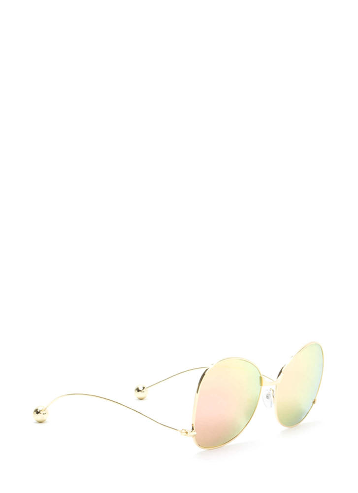 Quiet On Set Oversized Sunglasses PINKGOLD