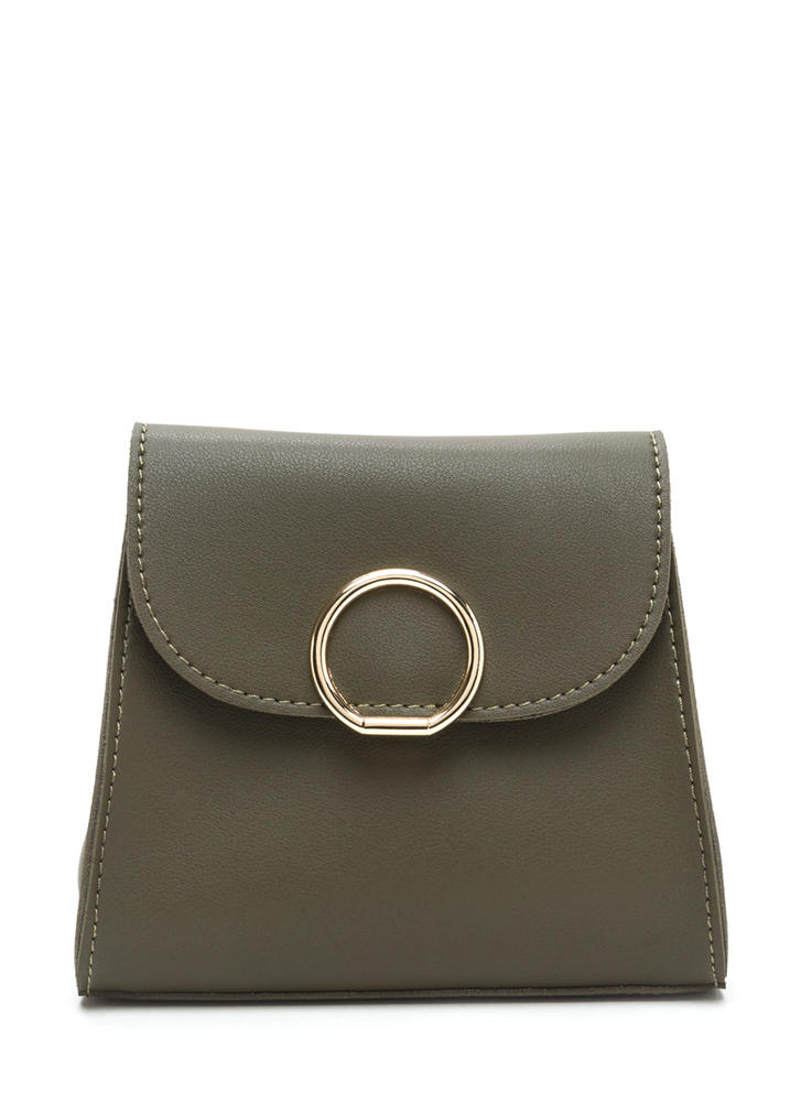 Ring Me Up Faux Leather Crossbody Bag OLIVE