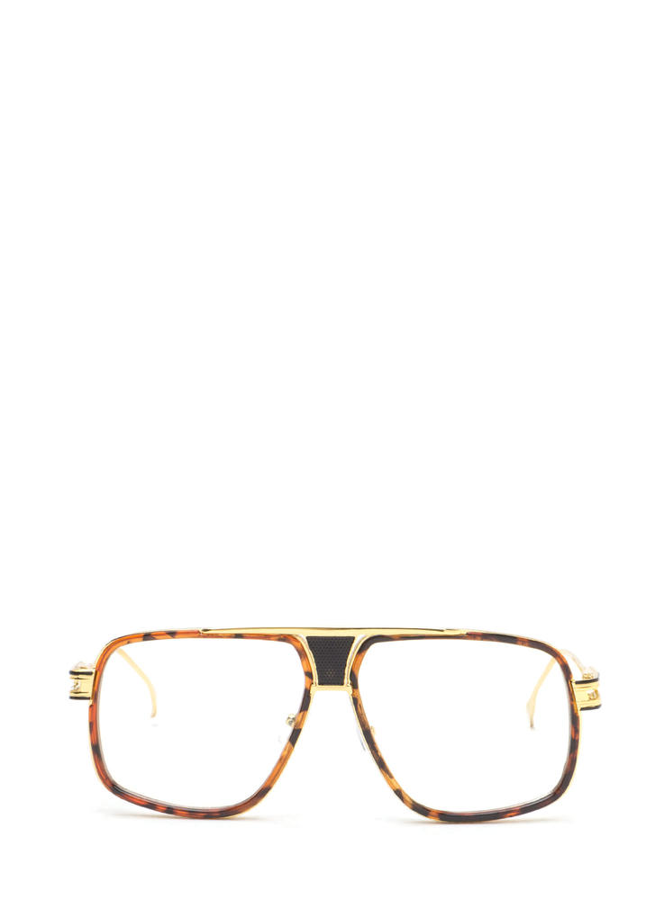 Retro Style Queen Oversized Glasses BROWNGOLD