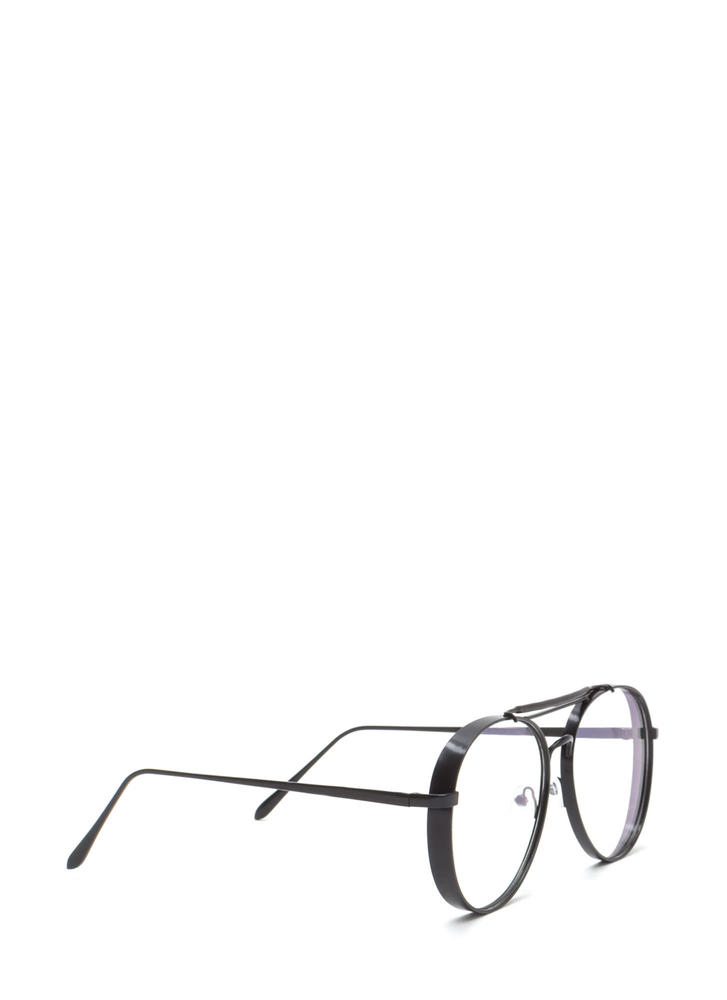 Round Off Double Brow Bar Glasses BLACK