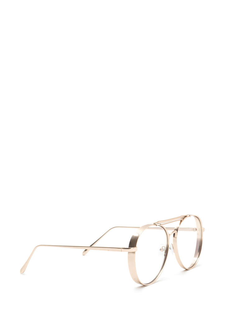 Round Off Double Brow Bar Glasses GOLD
