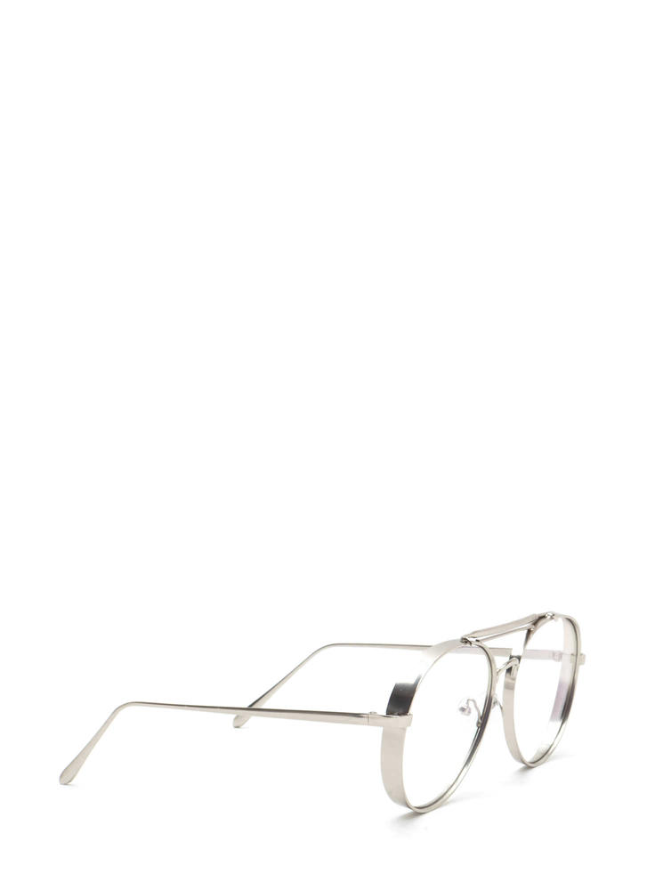 Round Off Double Brow Bar Glasses SILVER