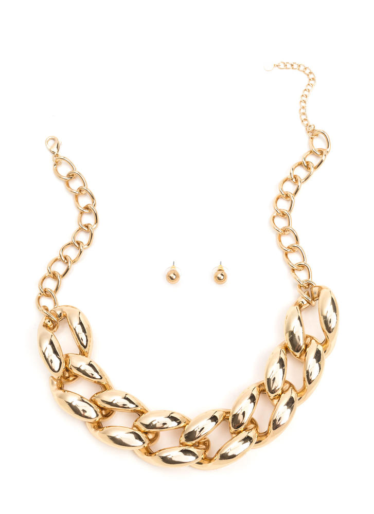 Livin' Large Curb Chain Necklace Set GOLD