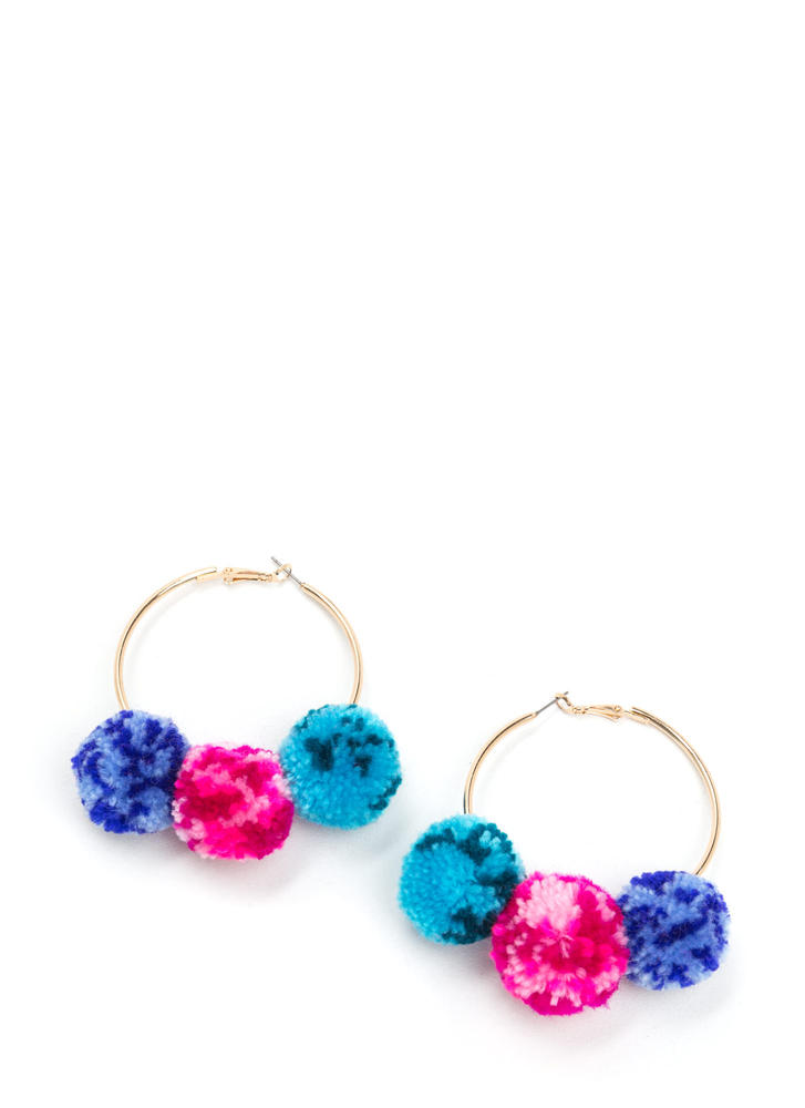 Pom-Pom Gang Hoop Earrings BLUEGOLD