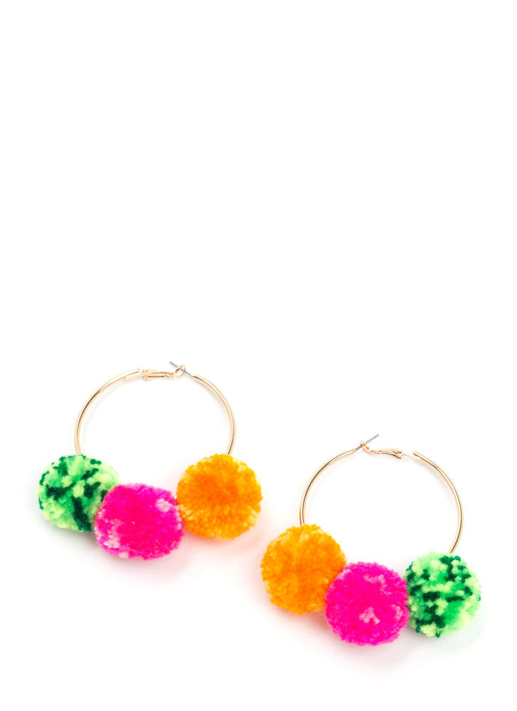 Pom-Pom Gang Hoop Earrings ORANGEGOLD
