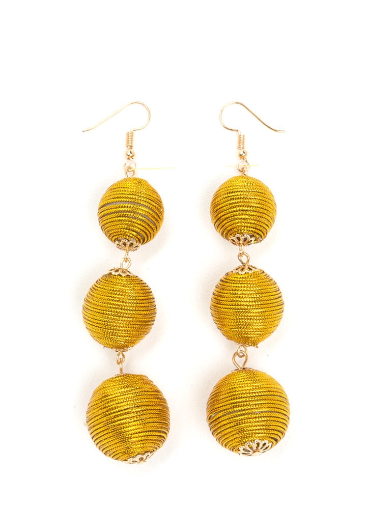 Have A Ball Wrapped Earrings GOLD