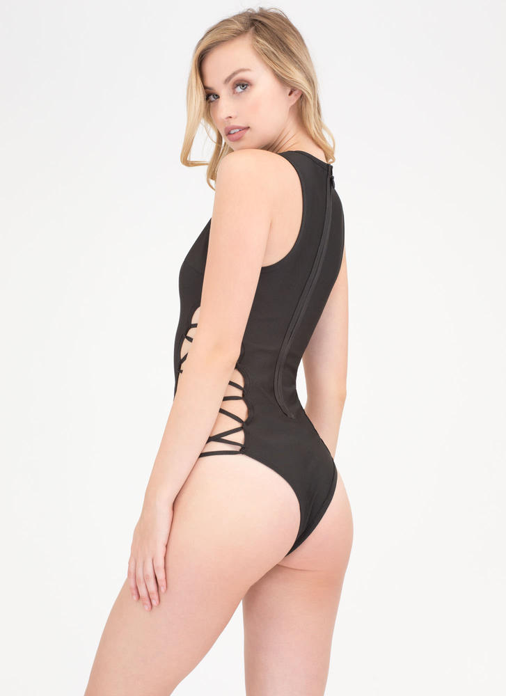 You Stud Strappy Plunging Bathing Suit BLACK (Final Sale)