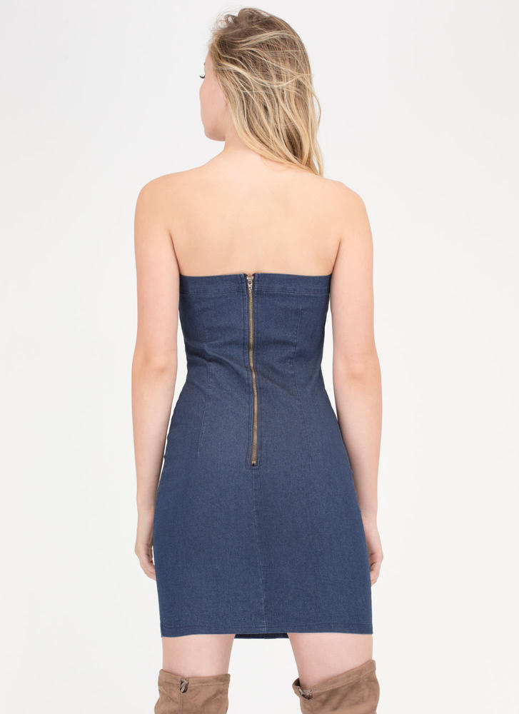 Play Ball Strapless Lace-Up Denim Dress DKBLUE