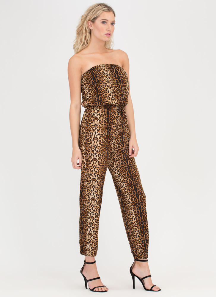 In The Wild Strapless Leopard Jumpsuit LEOPARD