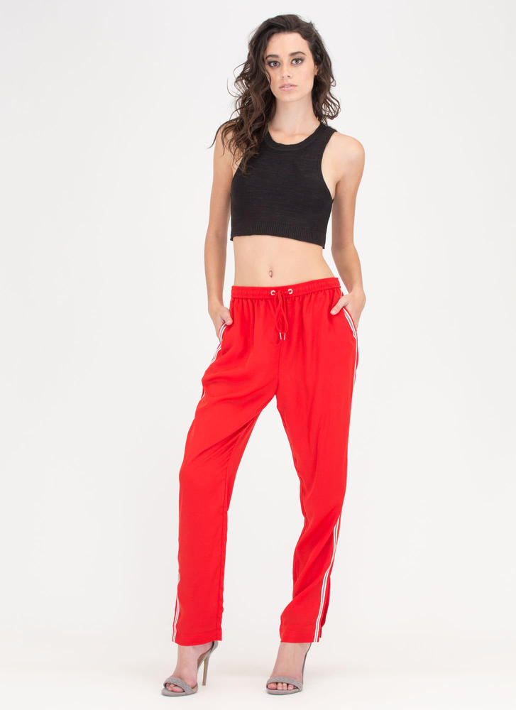 Natural Athlete Striped Jogger Pants RED
