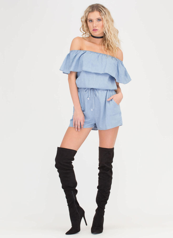 Ruffled Up Off-Shoulder Chambray Romper LTBLUE