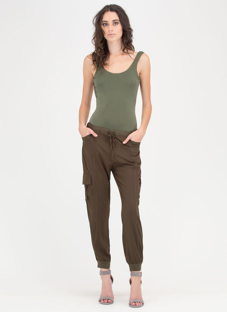 Special Cargo Drawstring Jogger Pants OLIVE