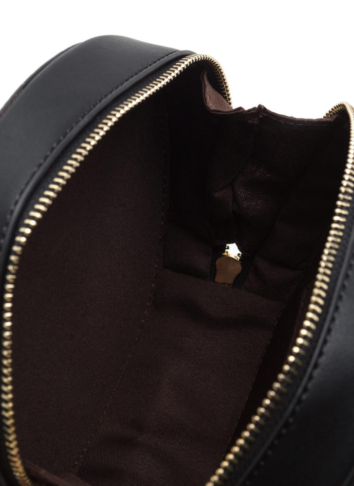 Win This Round Faux Leather Tasseled Bag BLACK