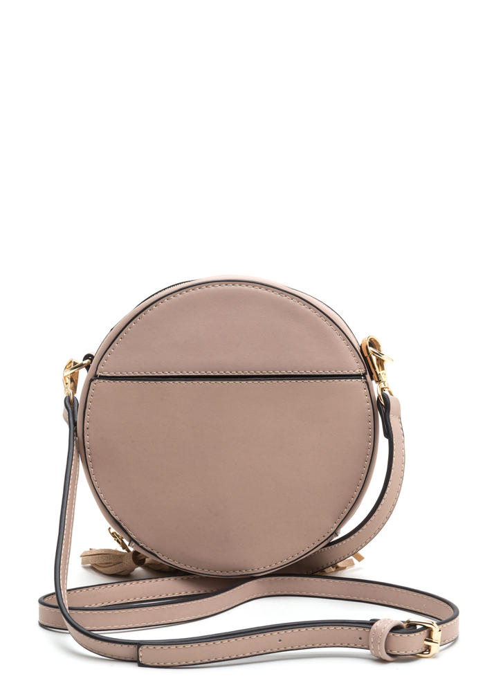 Win This Round Faux Leather Tasseled Bag PINK