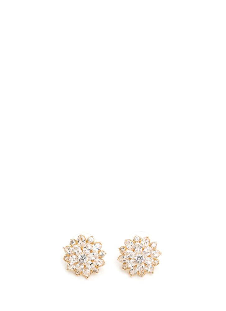 Flower Move Rhinestone Earrings