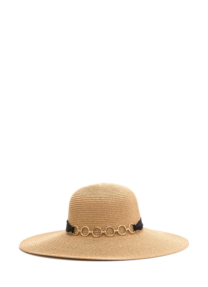 Ribbons 'N Rings Woven Sun Hat CAMEL