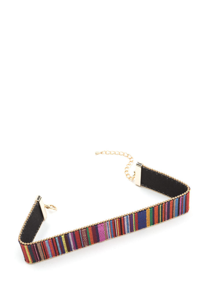 In The Southwest Striped Woven Choker REDGOLD