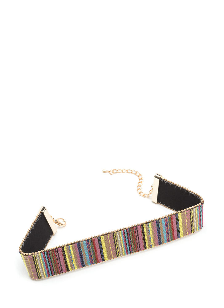 In The Southwest Striped Woven Choker YELLOWGOLD