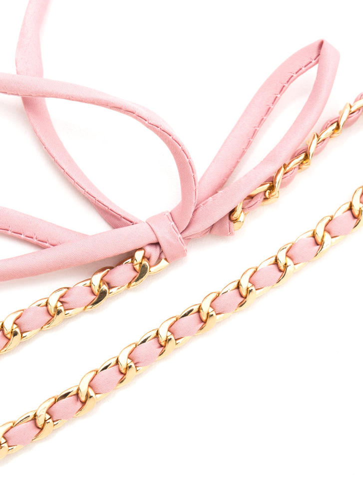 Luxe Simplicity Chain 'N Satin Choker PINK