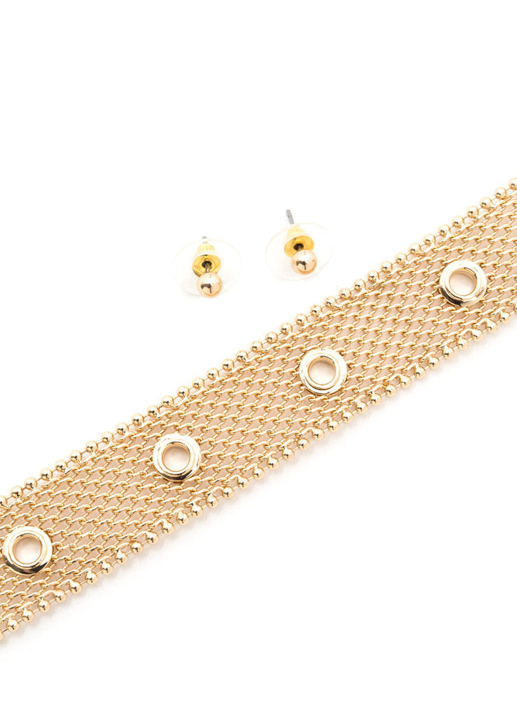The Hole Picture Chainmail Choker Set GOLD