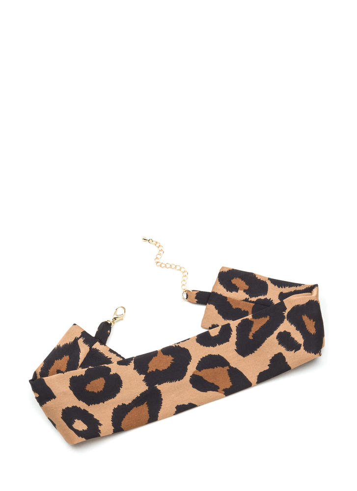 Lady In Leopard Wide Satin Choker LEOPARD