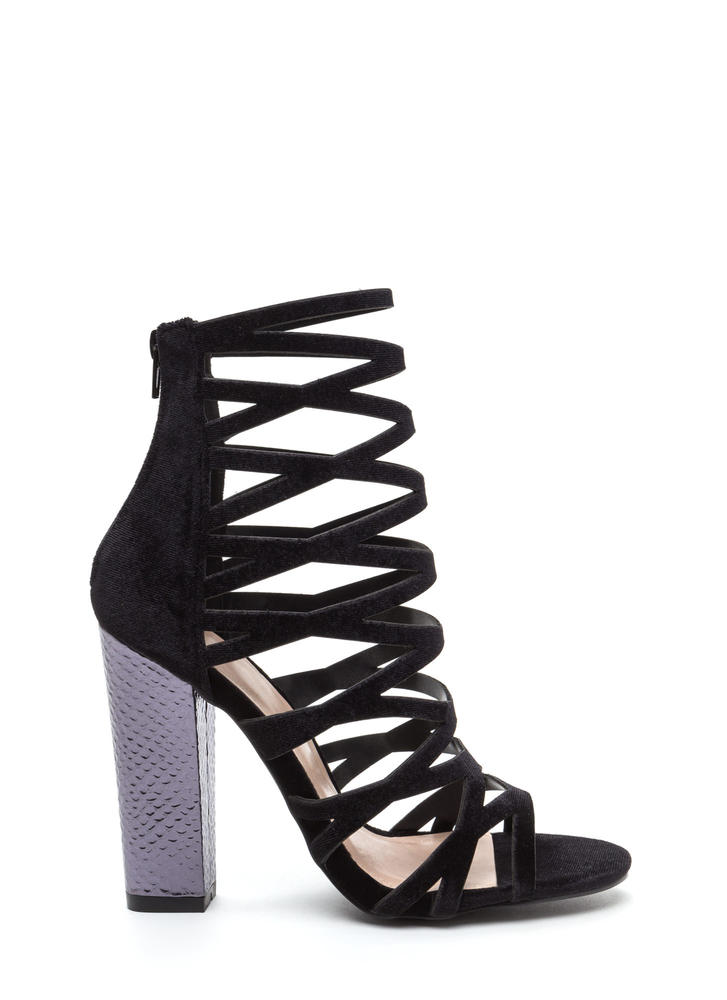 So Hammered Chunky Caged Velvet Heels