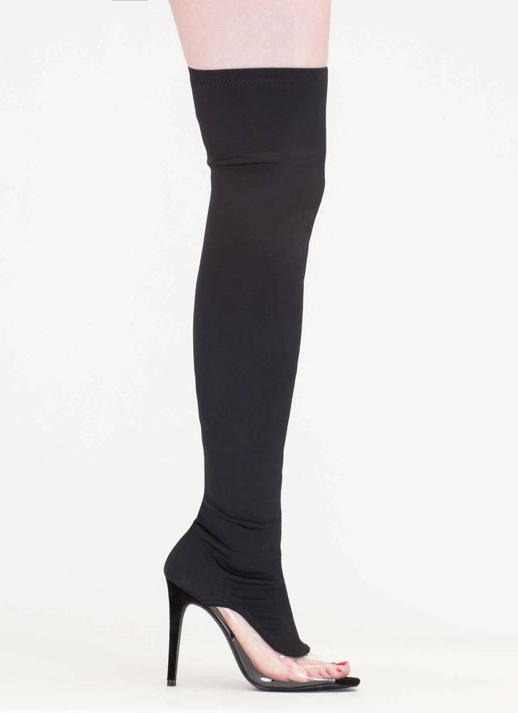 Partly Clear Over-The-Knee Boots BLACK